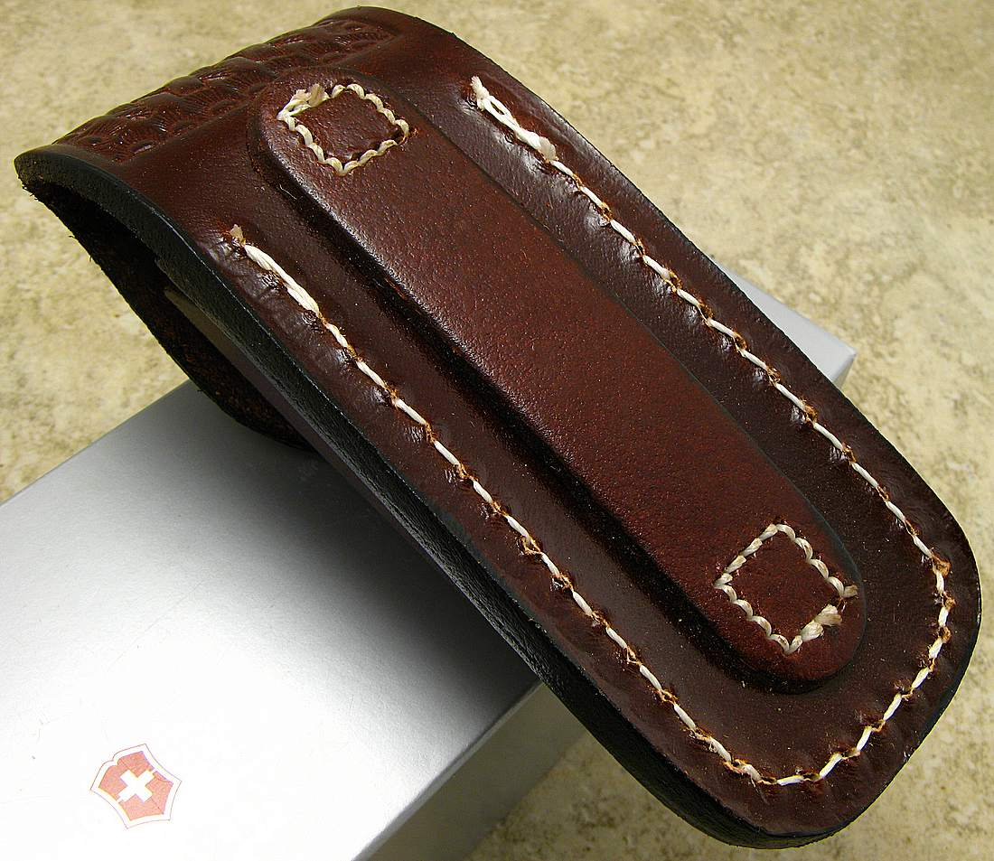 Victorinox Swiss Army Folder Knife Brown Leather Large