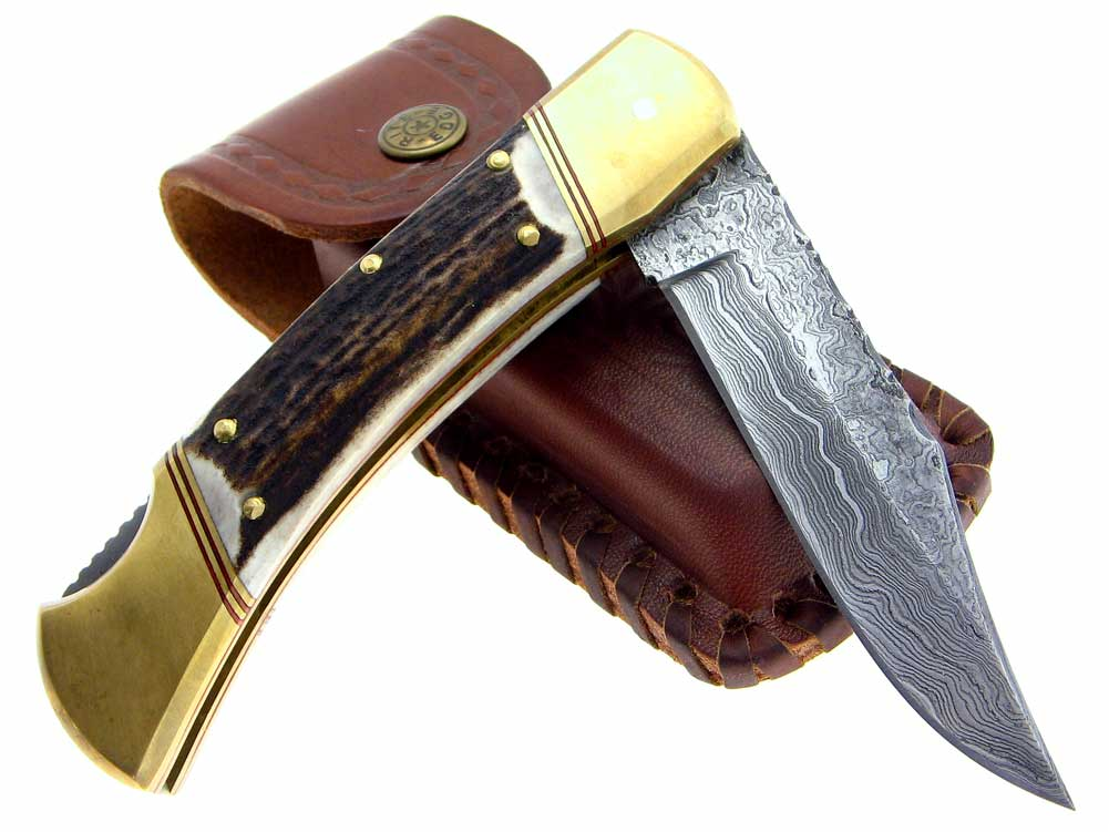 Custom Damascus Folding Stag Handle Lockback Knife Ebay